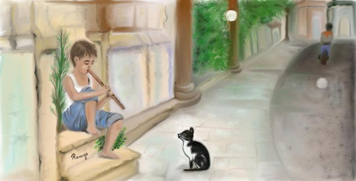القطة و الناي